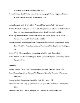 Bibliography of Resources to Develop a  Knowledge of Autoethnography