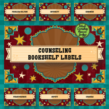 Bibliotherapy Counseling Bookshelf Library Labels Western Theme