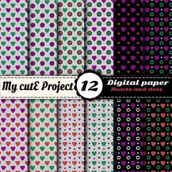 """Bicolor Hearts -  DIGITAL PAPER - Scrapbooking- A4 & 12x12"""""""