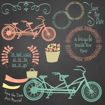 Bicycle Built for Two Clip Art Flowers Swirls Chalkboard Background included