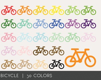 Bicycle Digital Clipart, Bicycle Graphics, Bicycle PNG, Rainbow Bicycle