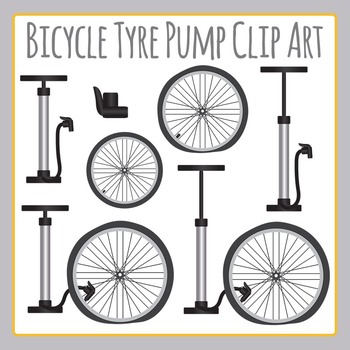 Bicycle Pump / Pumping Up a Bike Tire Clip Art Set for Commercial Use