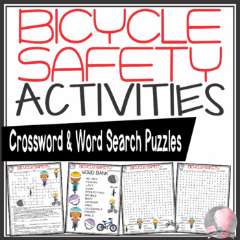 Bicycle Safety Activities Crossword Puzzle Word Search Find Tpt