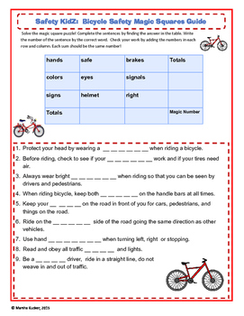 Bicycle Safety Math Magic Square Game
