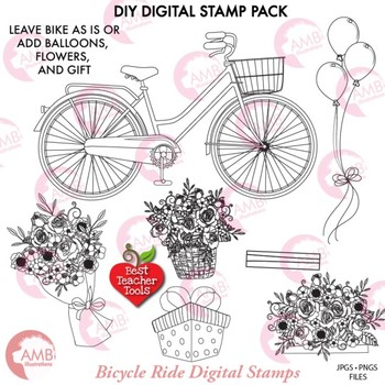 Bicycle Stamp clipart, Bicycle and Flowers DIY Digital Black-line Kit, AMB-1831