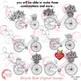 Bicycle Stamp clipart, Bicycle and Flowers DIY Digital Bla