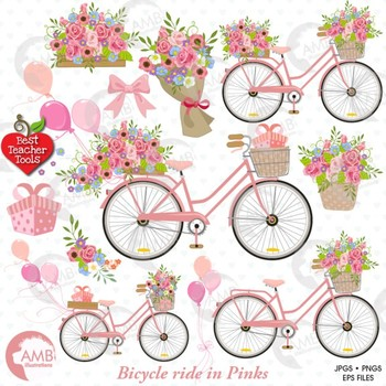 bicycle clipart bicycle and flowers shabby chic clipart amb 1323 rh teacherspayteachers com shabby chic clipart shabby chic flower clip art