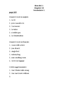 Bien Dit 1 Chapitre 10 Vocabulaire 1 List and Quizzes