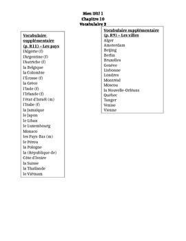 Bien Dit 1 Chapitre 10 Vocabulaire 2 list and quizzes