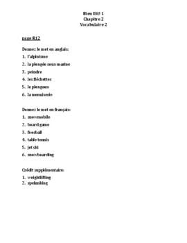 Bien Dit 1 Chapitre 2 Vocabulaire 2 list and quizzes