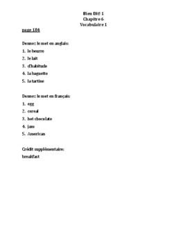 Bien Dit 1 Chapitre 6 Vocabulaire 1 List and Quizzes