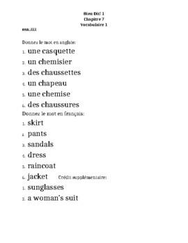 Bien Dit 1 Chapitre 7 Vocabulaire 1 list and quizzes