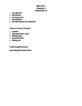Bien Dit 1 Chapitre 7 Vocabulaire 2 list and quizzes