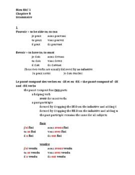 Bien Dit 1 Chapitre 8 Grammaire Study guide