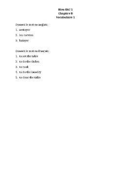Bien Dit 1 Chapitre 8 Vocabulaire 1 List and Quizzes