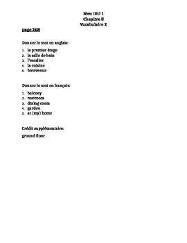 Bien Dit 1 Chapitre 8 Vocabulaire 2 list and quizzes