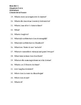 Bien Dit 1 Chapitres 5 et 6 Géoculture Worksheet