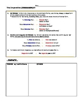 Bien Dit 1, Chapter 6 VOCABULARY SHEET - Reformatted and SCAVENGER HUNT version