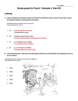 Bien Dit 1 - Final Exam, Chapters 4-6 Study Guide Answers