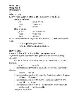 Bien Dit 2 Chapitre 1 Grammaire Study guide