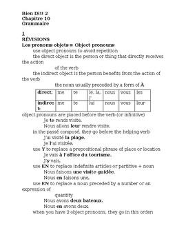 Bien Dit 2 Chapitre 10 Grammaire study guide