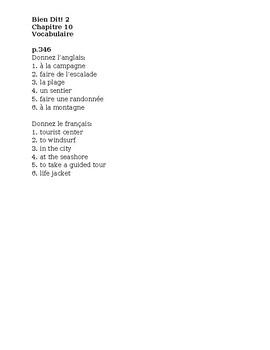 Bien Dit 2 Chapitre 10 Vocabulaire List and Quizzes