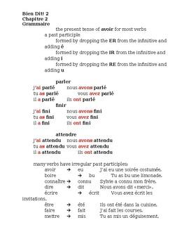Bien Dit 2 Chapitre 2 Grammaire Study guide
