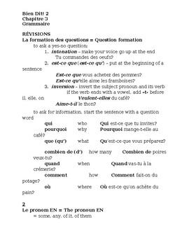 Bien Dit 2 Chapitre 3 Grammaire Study guide