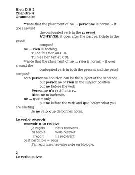 Bien Dit 2 Chapitre 4 Grammaire Study guide