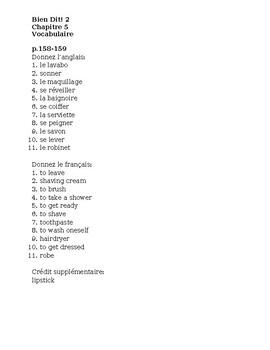 Bien Dit 2 Chapitre 5 Vocabulaire List and quizzes