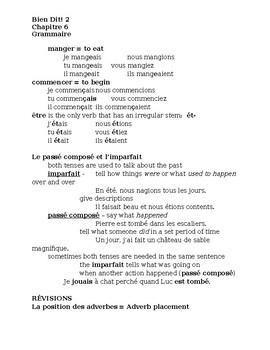 Bien Dit 2 Chapitre 6 Grammaire Study guide