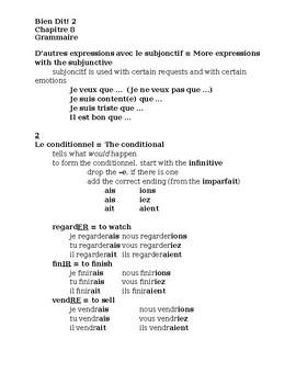 Bien Dit 2 Chapitre 8 Grammaire Study guide