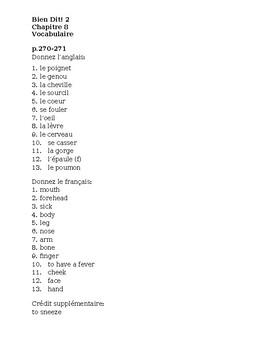 Bien Dit 2 Chapitre 8 Vocabulaire list and quizzes