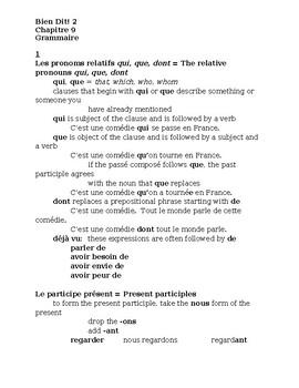 Bien Dit 2 Chapitre 9 Grammaire Study guide