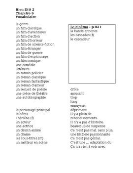 Bien Dit 2 Chapitre 9 Vocabulaire List and Quizzes