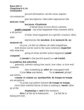 Bien Dit 2 Semester 2 Grammaire Study guide