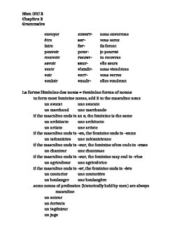 Bien Dit 3 Chapitre 2 Grammaire study guide