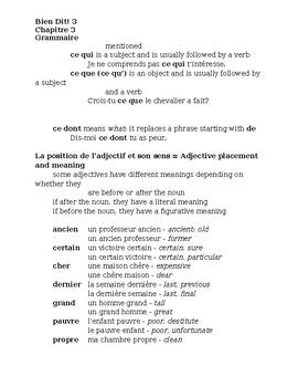 Bien Dit 3 Chapitre 3 Grammaire Study guide