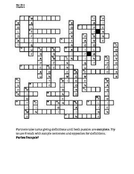 Bien Dit 3 Chapitre 3 Vocabulaire Partner Puzzle Speaking activity