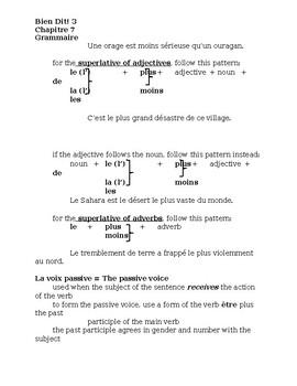 Bien Dit 3 Chapitre 7 Grammaire Study guide