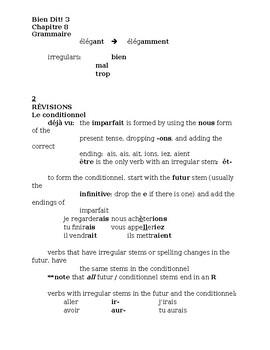 Bien Dit 3 Chapitre 8 Grammaire Study guide