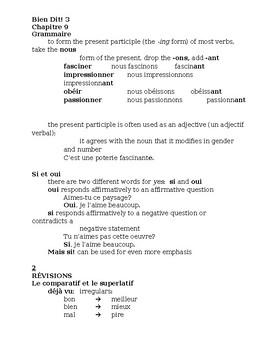 Bien Dit 3 Chapitre 9 Grammaire Study guide