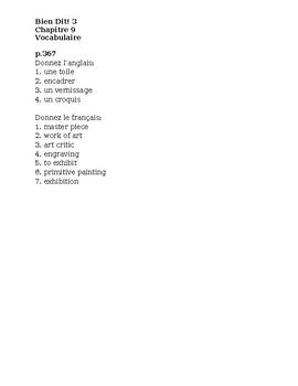 Bien Dit 3 Chapitre 9 Vocabulaire List and Quizzes