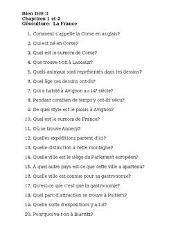 Bien Dit 3 Chapitres 1 et 2 Géoculture La France worksheet