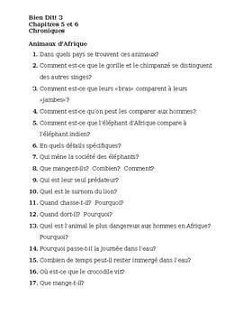 Bien Dit 3 Chapitres 5 et 6 Chroniques worksheets