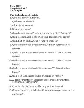 Bien Dit 3 Chapitres 7 et 8 Chroniques worksheets