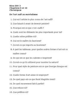 Bien Dit 3 Chapitres 9 et 10 Chroniques Worksheets