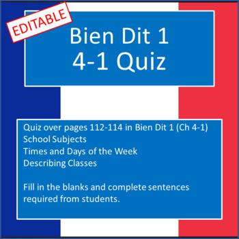Bien Dit 1 Chapter 4-1 Quiz