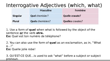 Bien Dit 7.1 - Interrogative Adjectives