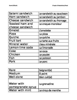 Bien Dit Ch6V2 Vocabulary Worksheets